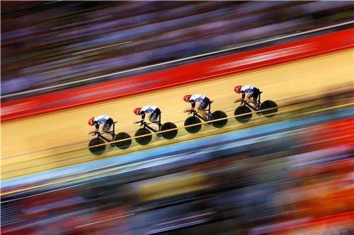 The brilliant Team GB men's pursuit cyclists, who just won Olympic gold.  Credit: Getty Images.