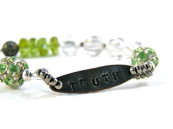 Truth Affirmation Necklace  Handstamped Beaded  by knitbeadlove