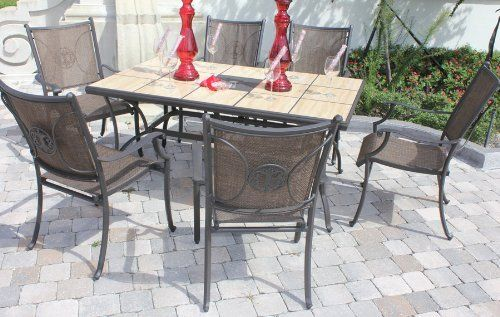 7 Piece Aluminum Dining Set Outdoor Patio Furniture Saddle Textured Mayfair