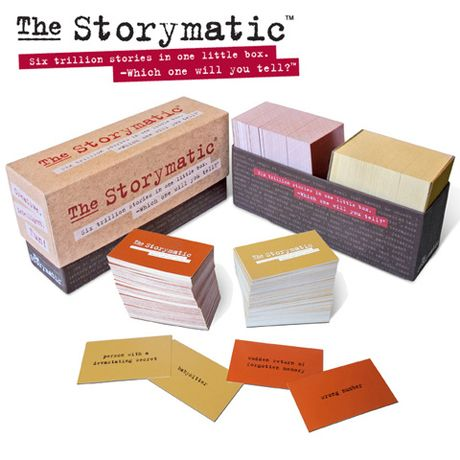 "The Storymatic ($30) is a game for creative people who aren't feeling that creative at the moment! Draw a character card (i.e., ""oddities collector,"" ""person with a devastating secret,""), draw a plot card (""nobody is watching,"" ""at last, love""), and let your beautiful brain fill in the gaps! Great for parties, writing practice, or Jerry Bruckheimer!"