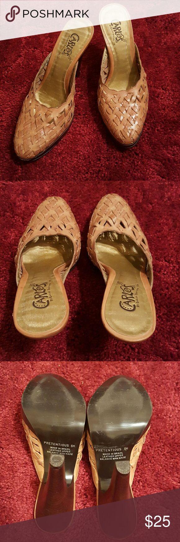 "Carlos Santana Tan Leather Mule | Size 6 Carlos Santana Tan Leather Mule   Size 6  Color Tan  4 1/2"" Heels  Pre-loved! Great condition! Carlos Santana Shoes Mules & Clogs"