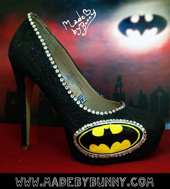 Batman heel design with Crystal Rhinestones and Glitter and hand painted glitter logos