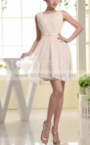 A-line Jewel Knee-length Chiffon Natural Formal Dresses gt3461
