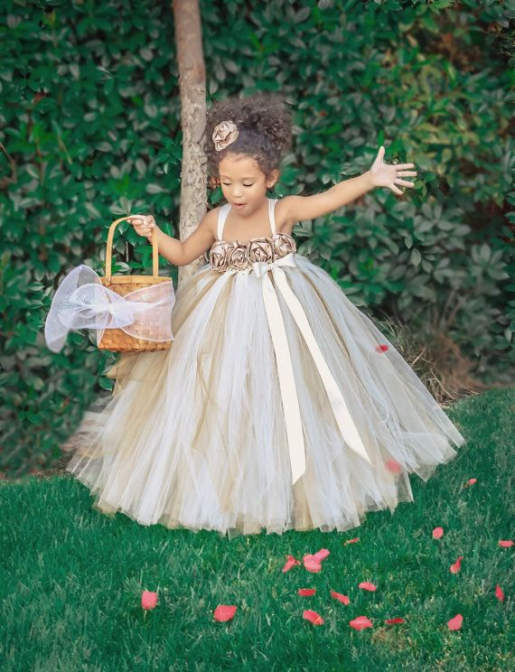 Ivory Gold Champagne Flower Girl Dress by PrincessLondonsTutus, $80.00