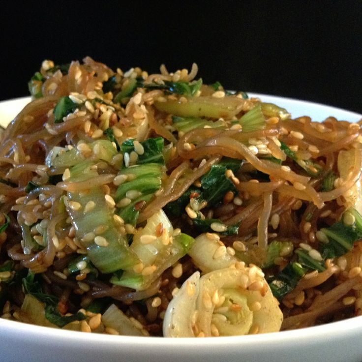 Fried Shirataki Noodles with Bok Choy and Roasted Sesame...  (Asian inspired side dish...)