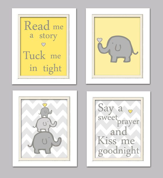 Nursery Quad, Yellow and Grey Nursery, Elephant Nursery, Set of 4 8X10, Yellow, Grey on Etsy, $37.00