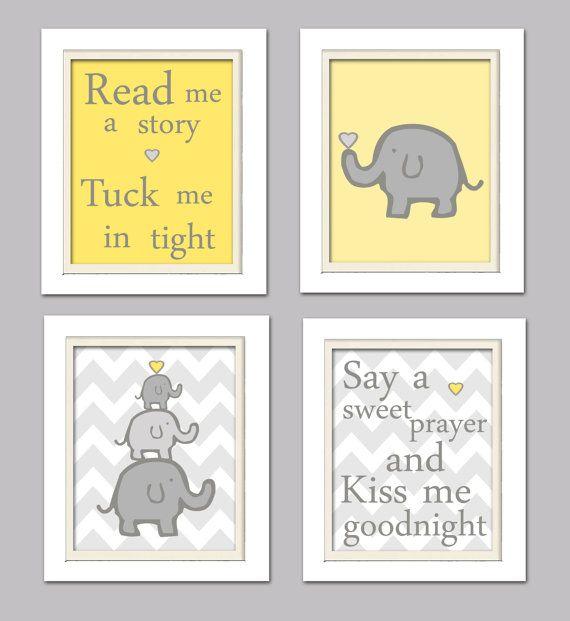 Nursery Quad Yellow and Grey Nursery Elephant by ChicWallArt, $37.00