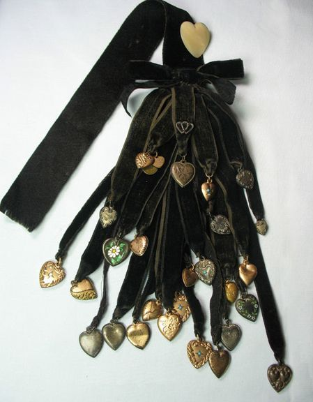 Victorian heart mourning ribbons ~ From the estate of Joan Munkacsi - more information - look into this
