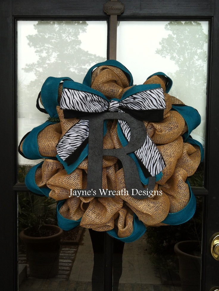 Burlap Wreath in natural, teal, black and zebra with initial