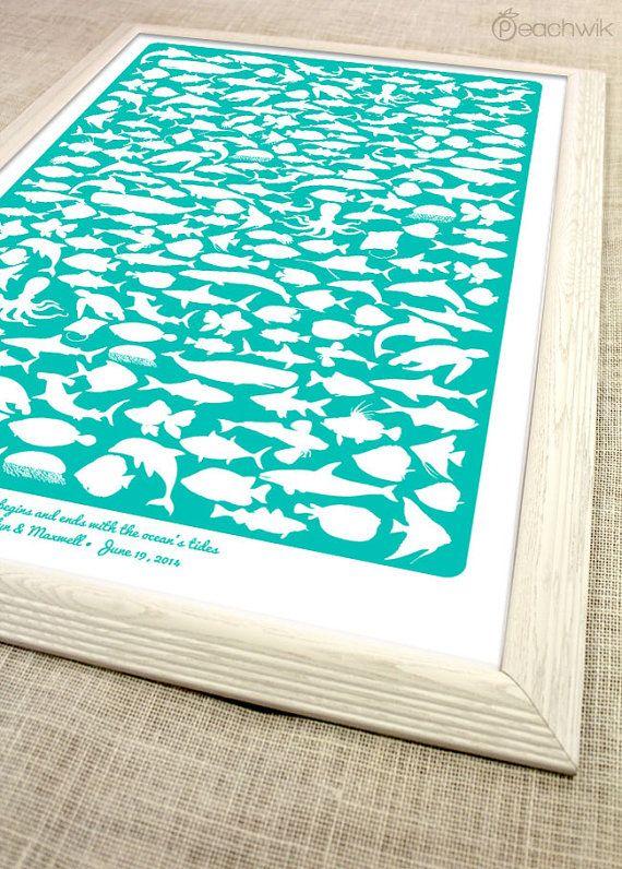 Beach Wedding Guest Book - The Beachwik - A Peachwik Interactive Art Print - 200 guest sign in - Destination, Beach & Ocean Weddings on Etsy, $65.00