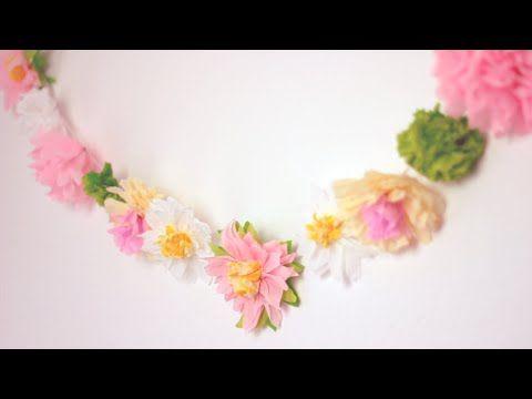 DIY: Paper Flower Garland   Cute & Happy Home Decor Ideas - YouTube