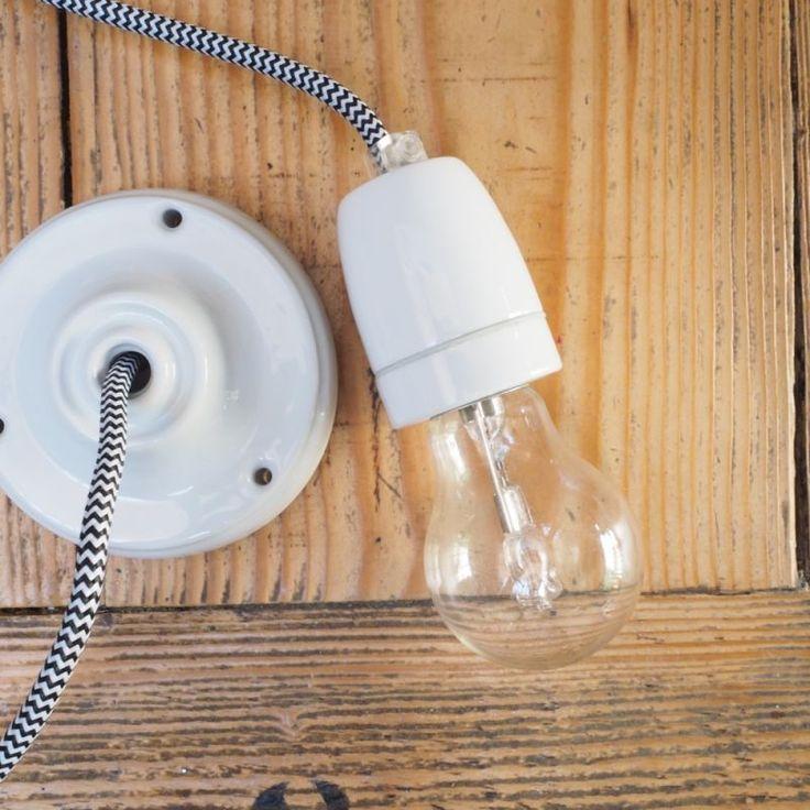 suspension douille en porcelaine c ble tiss luminaires pinterest luminaire douille. Black Bedroom Furniture Sets. Home Design Ideas