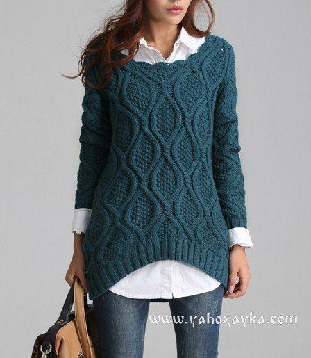 Свитер спицами ажурными ромбами. Вязание модные свитера схемы.