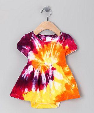 Tie Dye Baby Dress - Yellow, Orange, Fuchsia Spiral Tie Dye Baby Dress - 3-6 month. $25.00, via Etsy.
