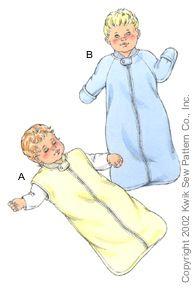 K3089 ** Kwik Sew Baby Sleep Sacks ** FABRICS: Heavyweight stretch knits only: Polarfleece®, blanket fleece, berber fleece or sweatshirt fleece.