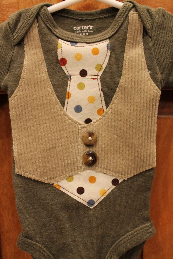 Baby Boy Tie and Vest OnesieNewborn to 24 month by BeesBabyTs, $15.00