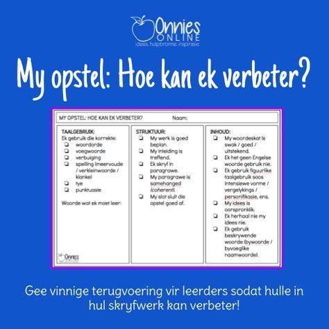 Vinnige teruvoering vir leerders om hul skryfwerk te verbeter   Oulike hulpbronne vir tuisskolers