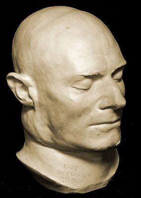 Cast of death mask of Australian wife-murderer Frederick Bailey Deeming, hanged at Old Melbourne Gaol in 1892.