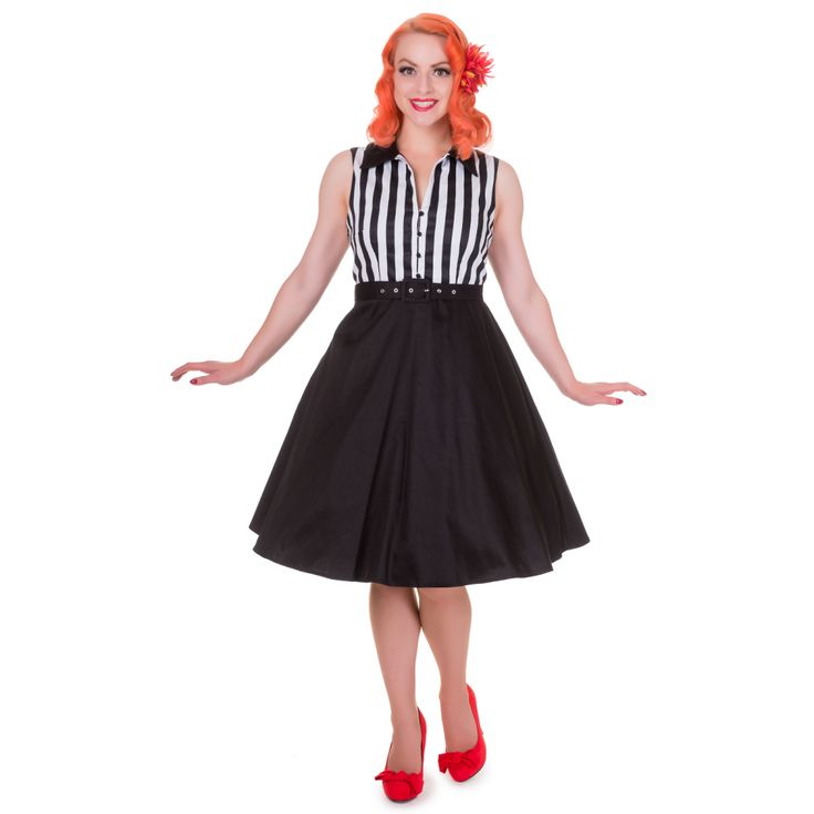 Poppy Retro Shirt Swing Dress in Black/White