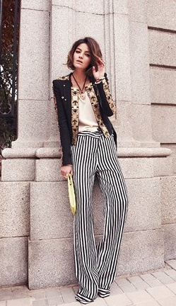 striped floor length trousers