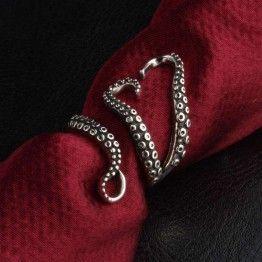MIUSI Men's Open Adjustable Octopus Ring