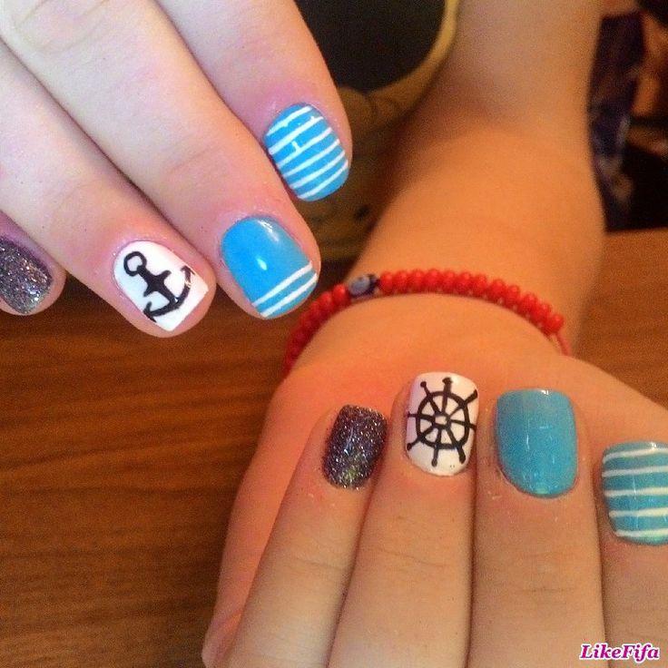 #маникюр, #маникюр2016, #дизайн_ногтей, #морская_тема_в_маникюре, #голубой_маникюр