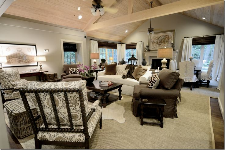 redesigned living room: Living Rooms, Riviera, Corner Window Treatments, Color, White Linens, Neutral Rooms, Family Rooms, Cote De Texas, Families Rooms