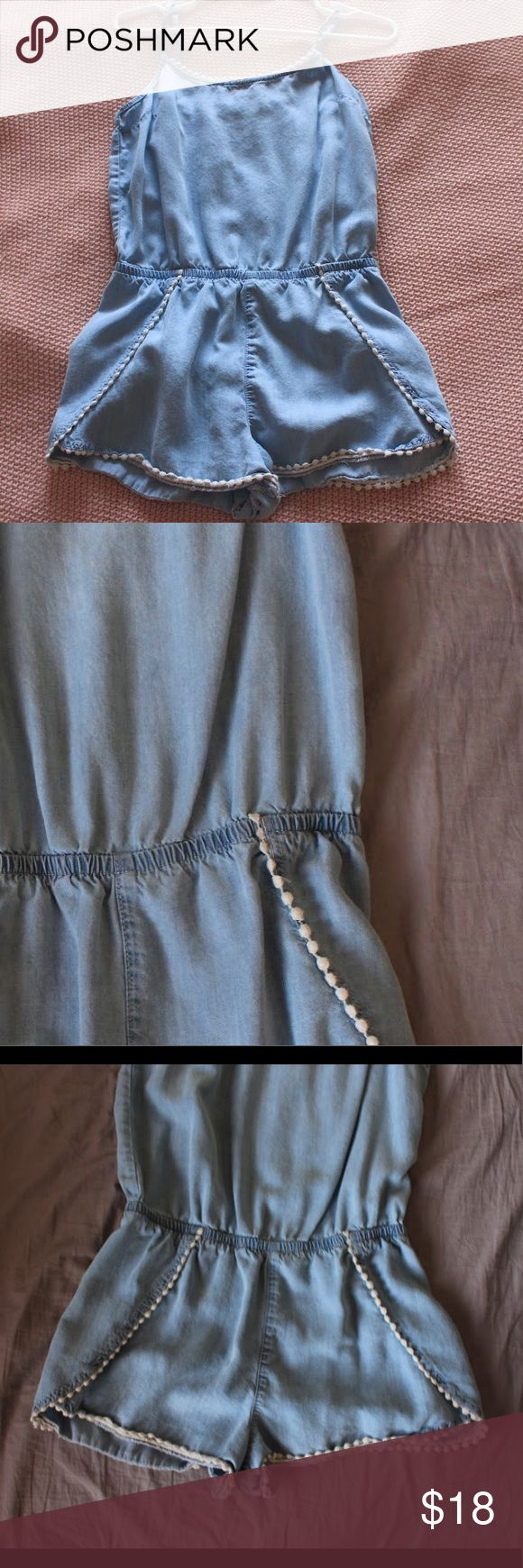 Garage Jean Romper Light jean romper with cute cream embroidery. Worn once and in great condition! Super comfortable and great for hot days! Garage Other
