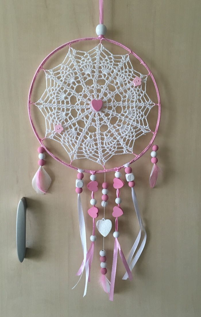 attrape r ve capteur de r ve ou dreamcatcher fait main le centre est r alis au crochet en. Black Bedroom Furniture Sets. Home Design Ideas