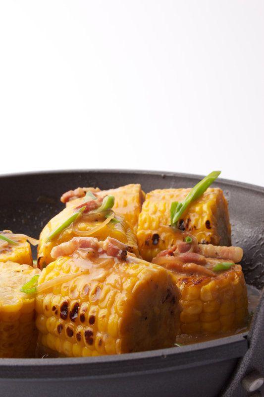 Geroosterde maïs met misoboter, pancetta en lente-ui - Gastronomixs