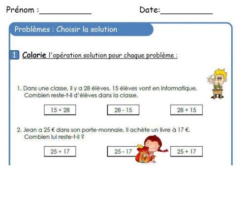 CE1 : Choix de l'opération pour résoudre un problème