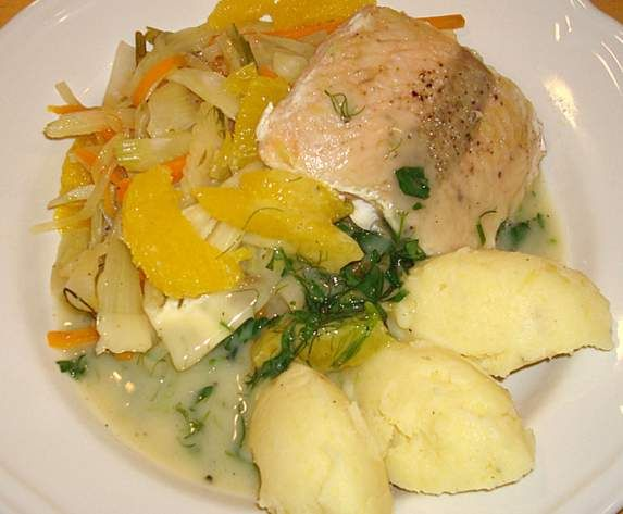 Recipe ALL IN ONE Steamed fish on orange fennel bed and mashed potatoes by sabrinad5223 - Recipe of category Main dishes - fish
