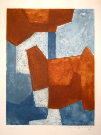 Acquaforte e acquatinta - Serge Poliakoff - Composition bleue et rouge / Komposition in Blau und Rot