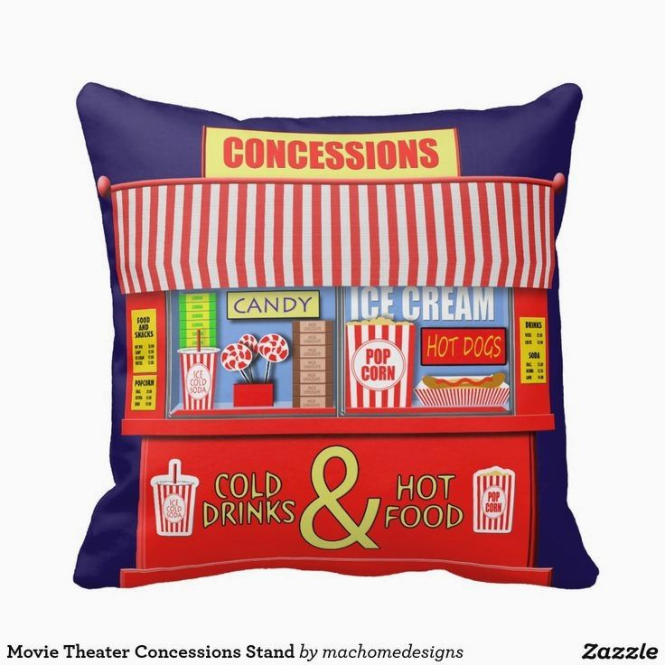 Concession Stand For Theater Room With Images: Shop Movie Theater Concessions Stand Throw Pillow Created