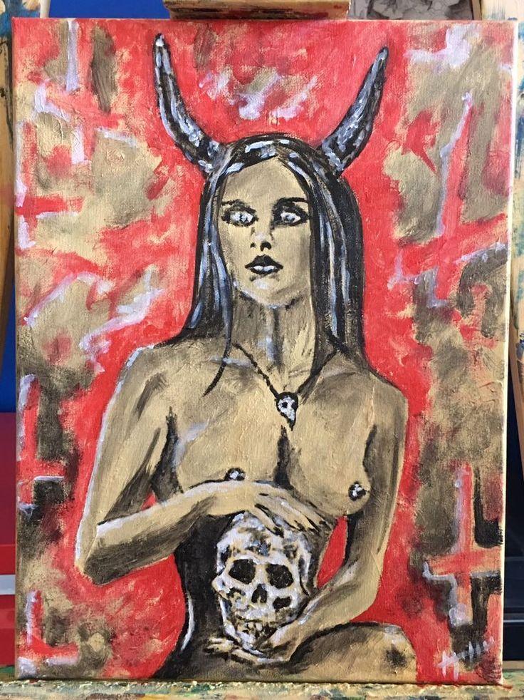 #artecontemporaneo #art #arte #acrilico #acrylicpainting #acrylic #tela #paint #painting #pintura #satangirl #satanica #skull #calavera #tattooartist #artista #chile #wasodemattos