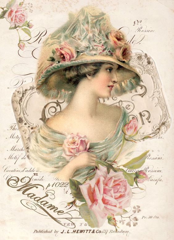 Vintage illustration woman Digital collage p1022 Free for personal use <3: