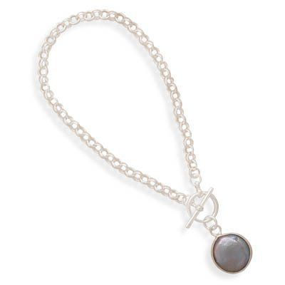 "7"" Rolo Toggle Bracelet with a Gray Cultured Freshwater Coin Pearl Drop Driscoll's Jewelry & Gifts. $54.86. Save 45% Off!"