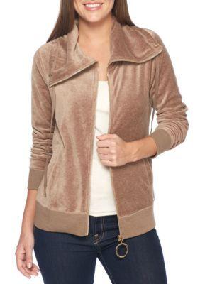 Calvin Klein Women's Funnel Neck Zip Velour Jacket - Morel Hthr - Xl