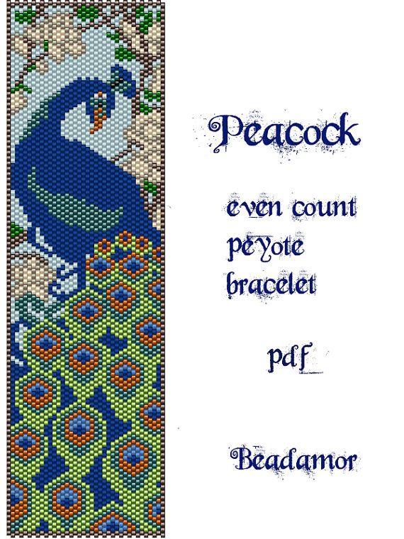 Peyote Pattern for bracelet: Peacock INSTANT DOWNLOAD von Beadamor
