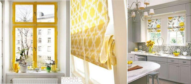Желтые шторы или оконная рама добавят тепла на кухне, расположенной с северной стороны