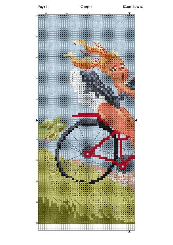 Lady x-stitch on bike 2 of 2