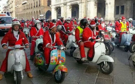 FATHERS CHRISTMAS ON A VESPA  This happens only in Italy! To stay true to their annual tradition, members of the Vespa Club will be meeting in front of the Town Hall of Cagliari on Sunday December 21, 2015 at 9:00 am. They will be on their Vespa, all dressed as Father Christmas.