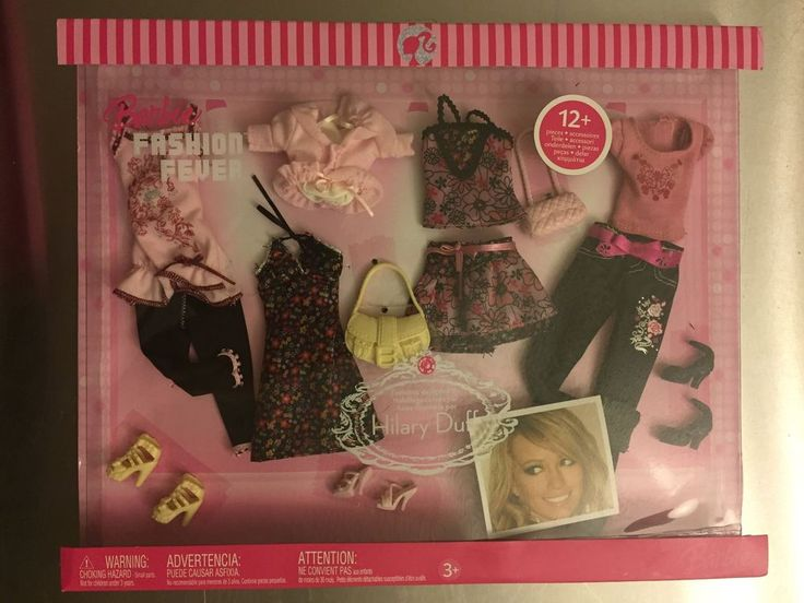 NRFB Barbie Fashion Fever 2006 Designed by Hilary Duff - Pink & Floral 12+ Items #Mattel #DollClothingAccessories