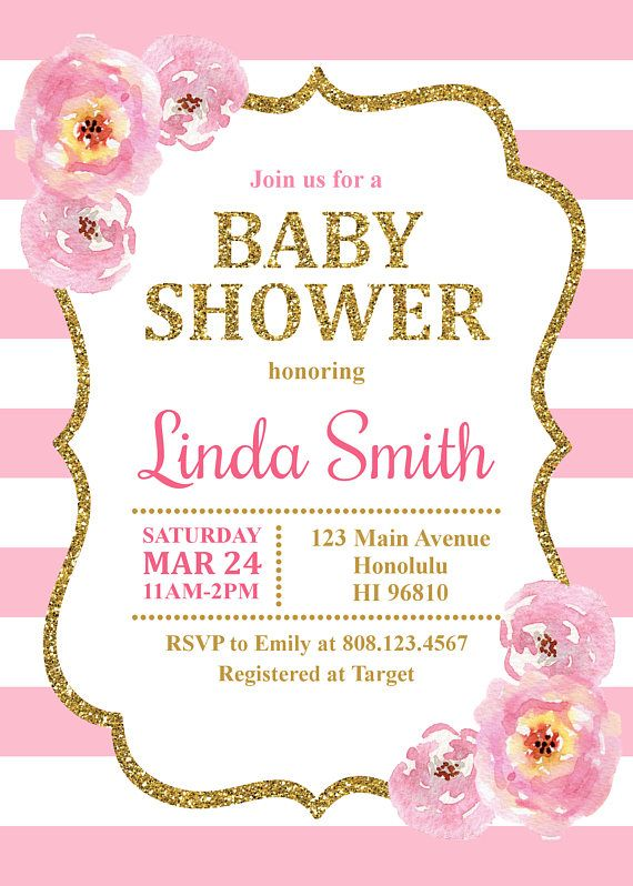 pink and gold baby shower invitation  baby girl shower