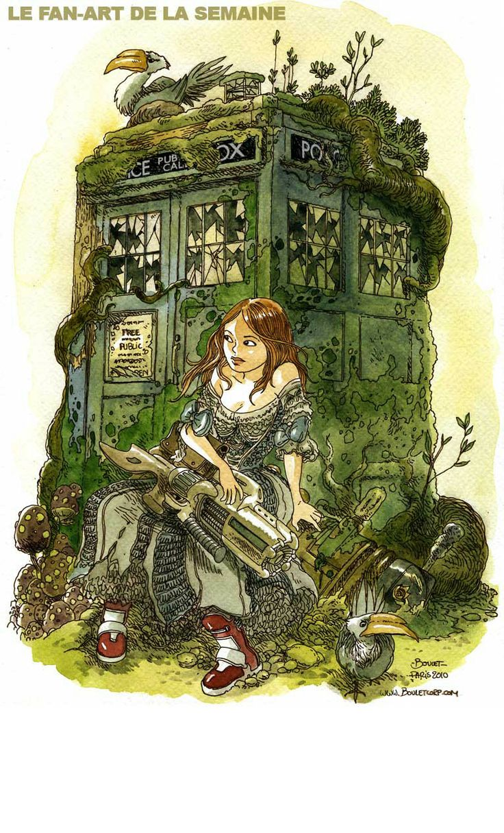 Amy Pond & the TARDIS by Gilles Roussel