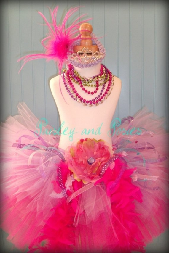 Fancy Nancy: use stretchy headband to keep crown from falling off head, skirt additions: boa, ribbon, rhinestone center flower