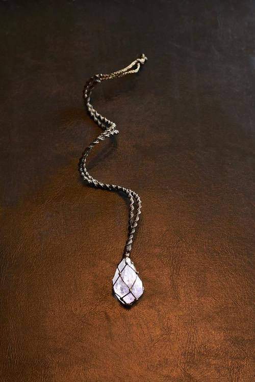 amethyst  macrame necklace  waxed cord & crystal   handmade by his nothingness