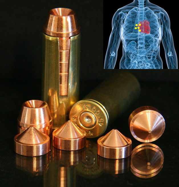 Multi Projectile Ammo. One .44 Caliber Round at 15 Feet EQUALS 5 Wounds in a 2 x 3 inch Grouping! Now that is bad ass!