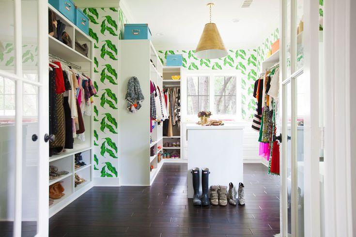 colourful walk in closet