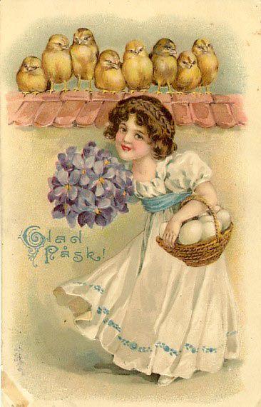 Girl with violets - Vintage Swedish Easter greeting card